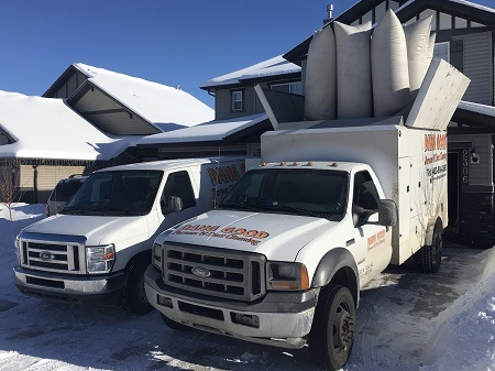 Carpet Cleaning and Furnace Cleaning Truck at a Customers Home