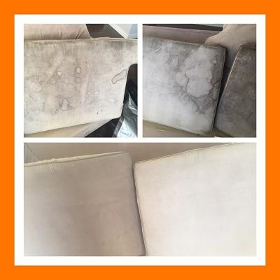 Cream Cushions Steam Cleaned