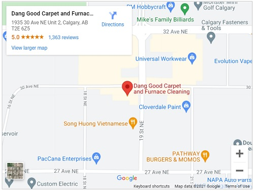 Map of Location of Dang Good Carpet and Furnace Cleaning